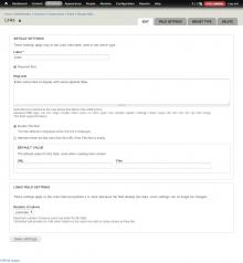 Field settings of an url field