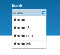 The Search API Autocomplete module in action.