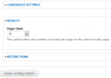 Provides options to set search results limits.