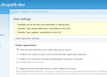 Screenshot of how overrides are highlighted ot the user, for Drupal 6.