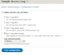 Simple Access Log configuration page