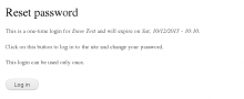 Form presented without Simple Password Reset enabled.