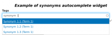 synonyms-friendly autocomplete