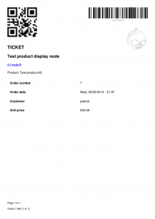 Ticket PDF produced with default settings, in Bartik