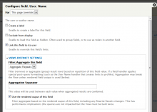 Example settings on a User Name field.