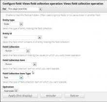 Views field collection operation settings form