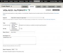 Shows Automatr report setup screen in Drupal admin.