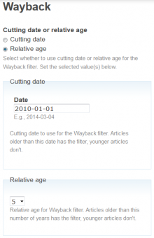 Setting when to offer an additional link to the Wayback Machine