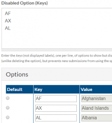 Example configuration with the keys AF, AX, and AL set to be disabled.