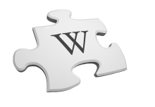 A logo of Wikipedia, a data source for the Puzzler module