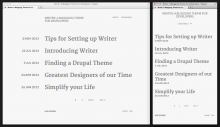 Demonstrates the look of the Writer archives, at different sizes