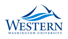 A peaked mountain drawing with blue rivers running over it above the words Western Washington Univeristy