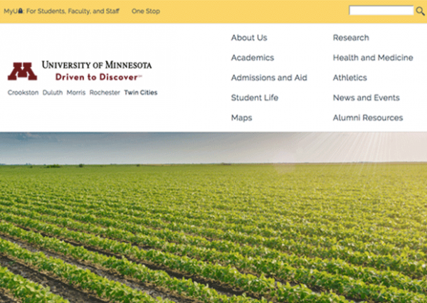 Screenshot of homepage at umn.edu