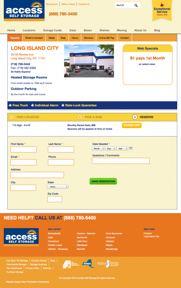 Step 3: Reserve A Unit Page for the Access Self Storage Website