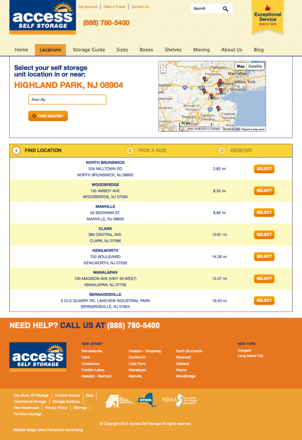 Step 1: Store Location Page for the Access Self Storage Website