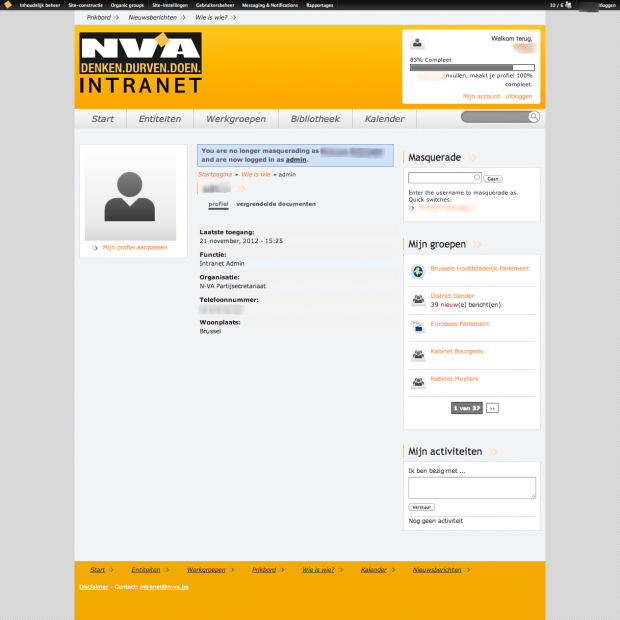 Account page - NV-A intranet