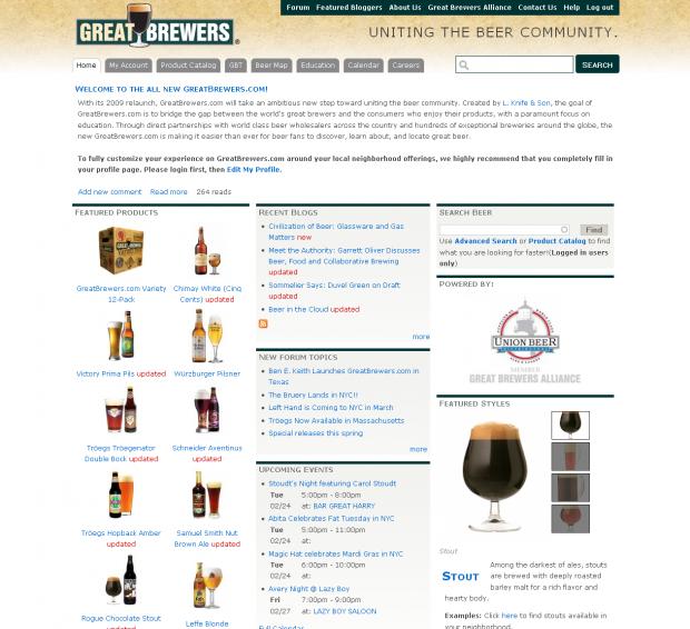 GreatBrewers.com screenshot