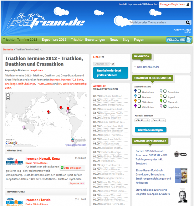 triafreunde.com - overview Triathlon dates