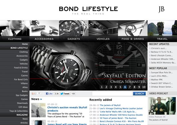 The 2nd most visited Bond website in the world - Bond Lifestyle.