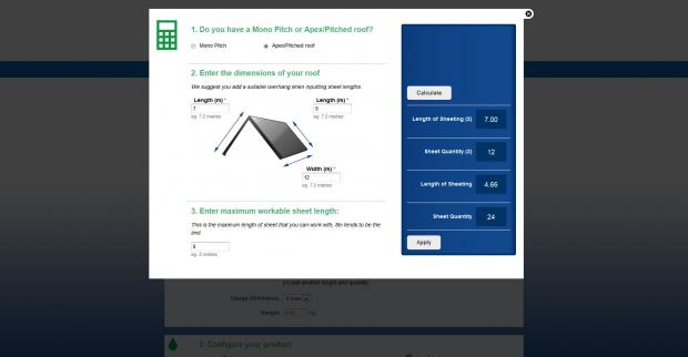 The Roof Size Calculator tool to calculate sheet lengths.