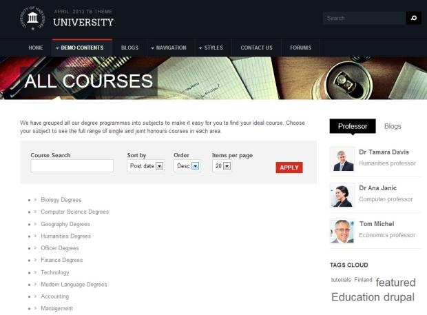 Education theme TB University Course page screenshot