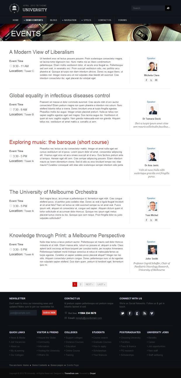 Education theme TB University Event page screenshot