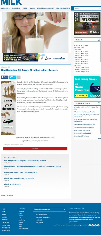 Farm Journal's MILK Magazine New Website sub page in Drupal 8
