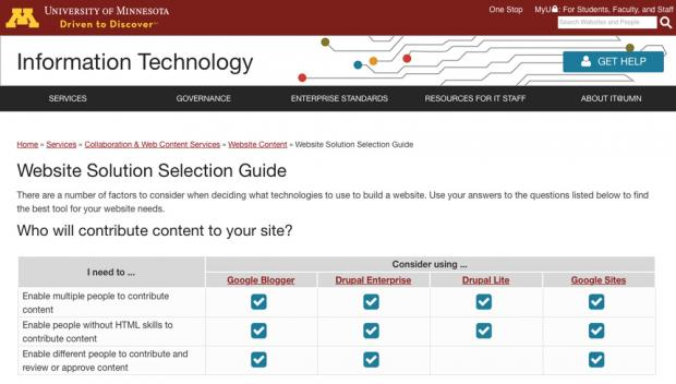 UMN IT Department Website Solution Selection Guide page