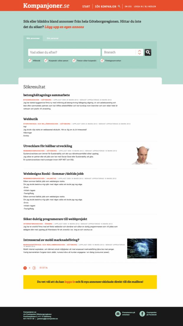 Advertisement page of Kompanjoner.se