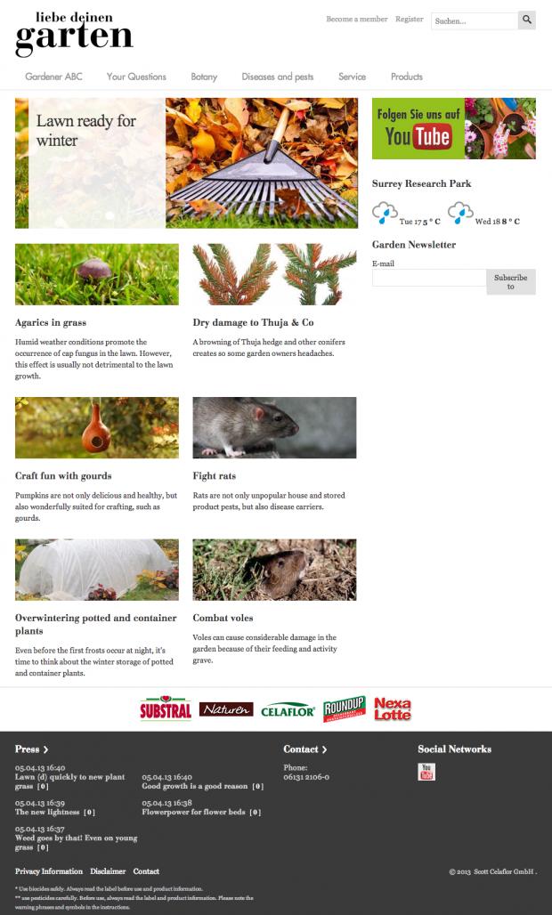 Liebe deine garten, German and Austrian website homepage