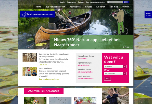 Natuurmonumenten.nl homepage by PuurPXL and Wunderkraut