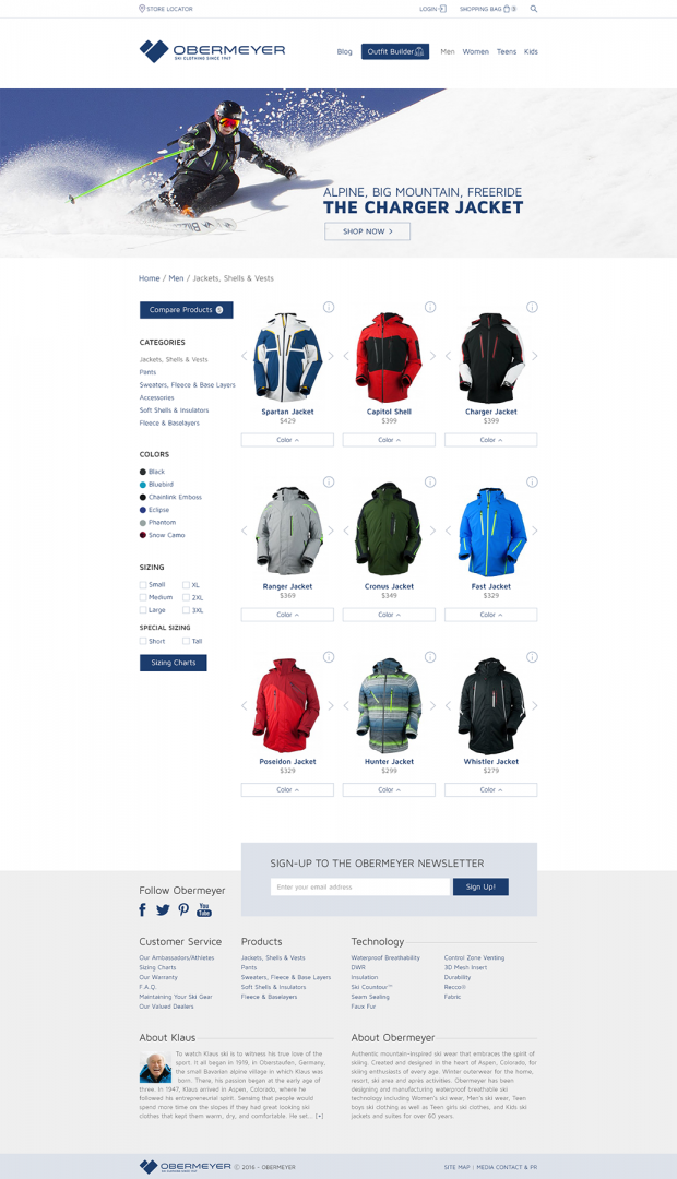 Obermeyer Ecommerce Website_Product Page