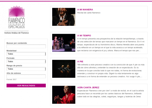 Rojomorgan Drupal Case Study Catalog of Flamenco Shows in Andalusia Searching tool