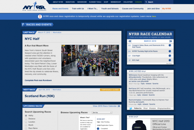 A portal to access all races and events sponsored by NYRR