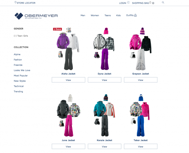 Obermeyer Ecommerce Website_Outfits Page