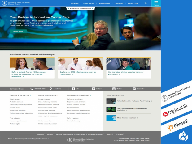 Screenshot of MSK site features