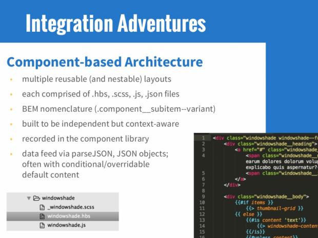 A bulleted list of front end integration descriptions