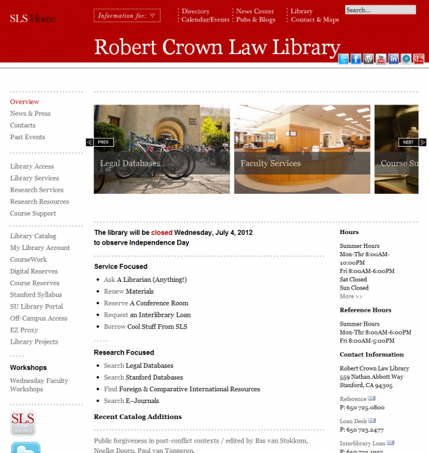 Stanford Law School Robert Crown Library