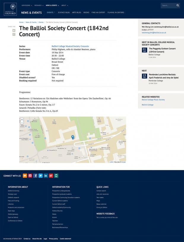 Oxford University Event page screenshot