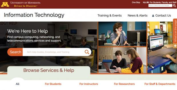 Homepage for University of Minnesota IT, of the niche sites created within the UMN organization.