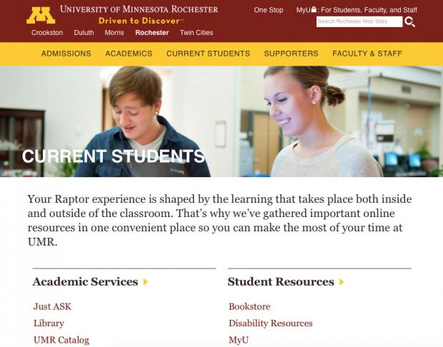 Homepage for University of Minnesota Rochester, one of the campuses within the UMN organization.