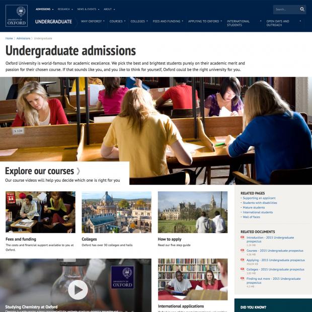 Oxford University section index screenshot
