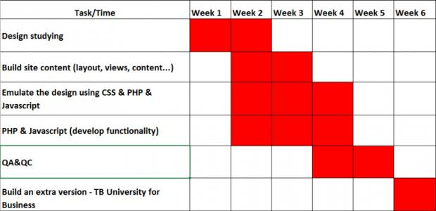 TB University project timeline screenshot