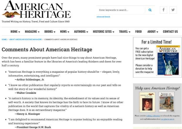 Comments made by President George H.W. Bush for American Heritage Magazine