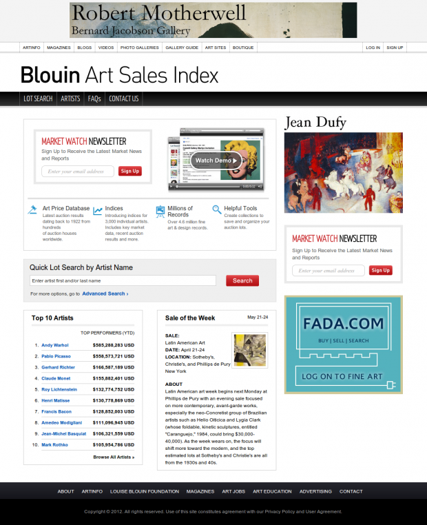 artinfo art sales index