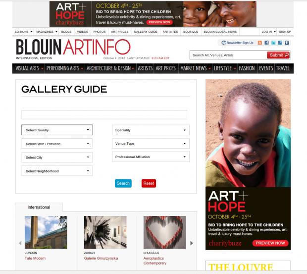 artinfo art galleriy filter