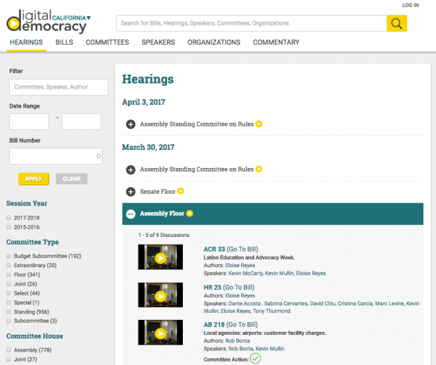 View of Hearings Search