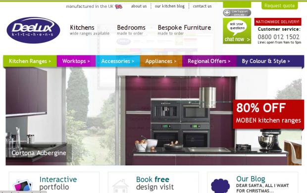 Deelux Kitchens Website Screenshot