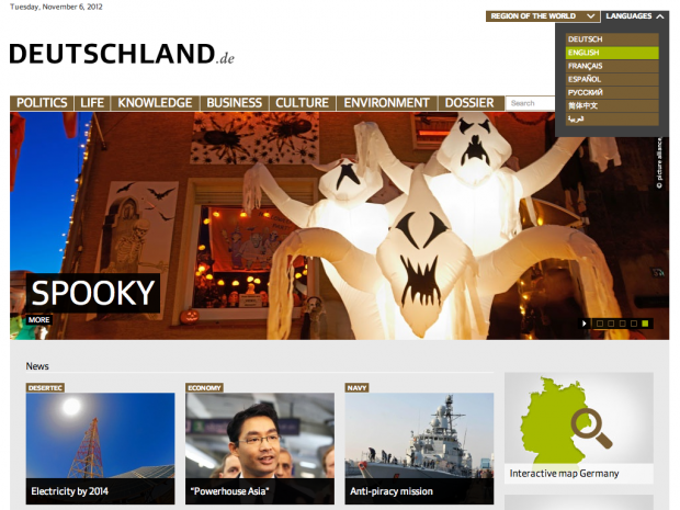 screenshot of deutschland.de homepage