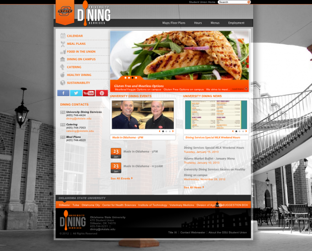 OSU Student Union Dining Homepage
